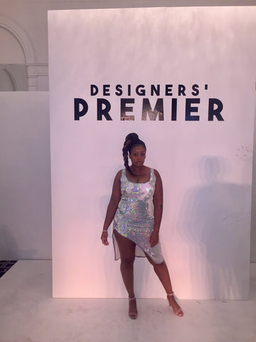 Fashion Designer Sade Glamour wearing a CUSTOM Sade Glamour dress at NYFW Showcase
