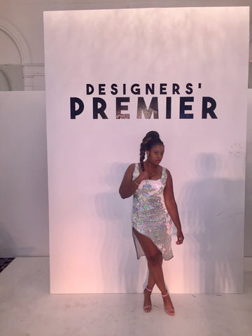 Fashion Designer Sade Glamour wearing a CUSTOM made Sade Glamour dress at the NYFW showcase