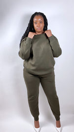 Load image into Gallery viewer, Dark Olive crewneck Sweatsuit (PLUS) - SADE GLAMOUR