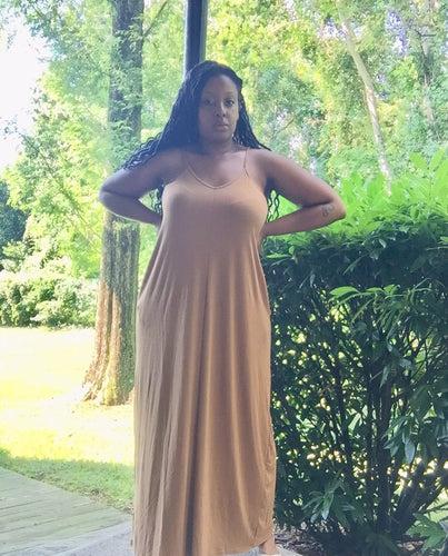 Marcella light brown maxi dress - SADE GLAMOUR