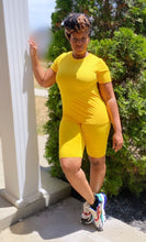 Load image into Gallery viewer, On Chill Yellow biker short set - SADE GLAMOUR