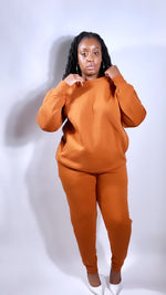 Load image into Gallery viewer, Almond crewneck sweatsuit (PLUS) - SADE GLAMOUR