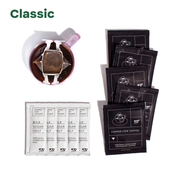 """Classic"" - 5 black coffee pouches, 5 creamer pouches, and mug with coffee filter hanging on it"