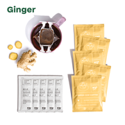 """Ginger"" - 5 ginger coffee pouches, 5 creamer packets, mug with coffee filter hanging on it and ginger root"
