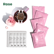 """Rose"" - 5 rose coffee pouches, mug with coffee filter hanging, rose and petal"