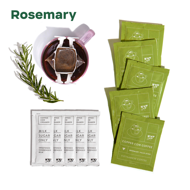 """Rosemary"" - 5 rosemary coffee pouches, 5 creamer packets, mug with coffee filter hanging on it and sprig of rosemary"