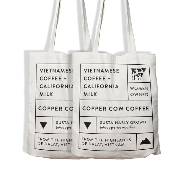 Copper Cow Canvas Tote Bags
