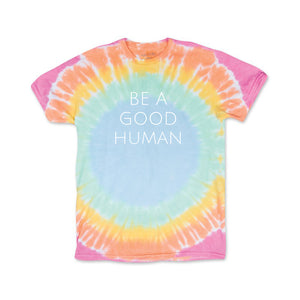 Be A Good Human Kids Tie-Dye T-Shirt - Olive & Auger