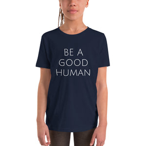Be A Good Human Youth Holiday Short Sleeve T-Shirt - Olive & Auger