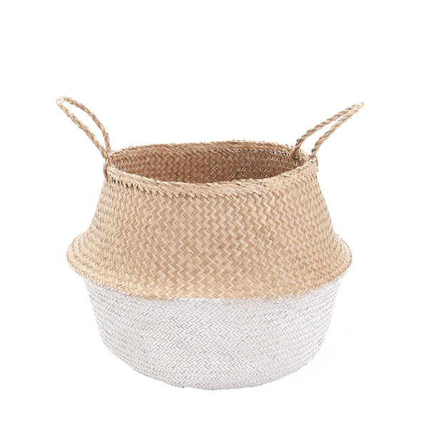 White Dipped Belly Basket - Large