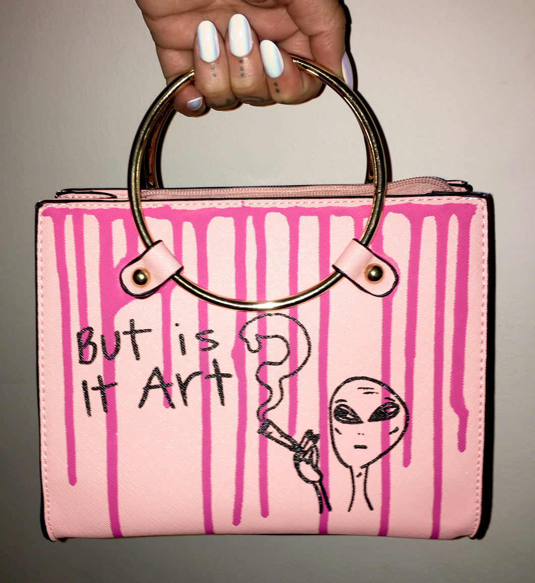 """But is it art?""  Pink Tote w/ Gold Metal Handle"