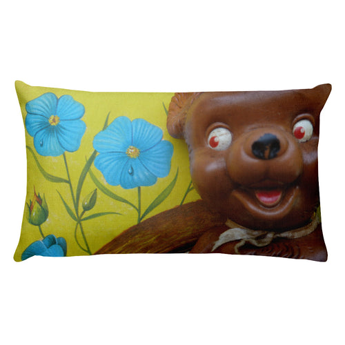 Vintage Toy Bear and Bunny Double Sided Throw Pillow!