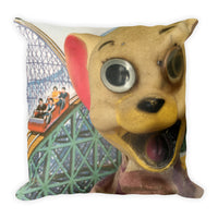 Vintage Toy Mouse and Wolf Double Sided Throw Pillow!