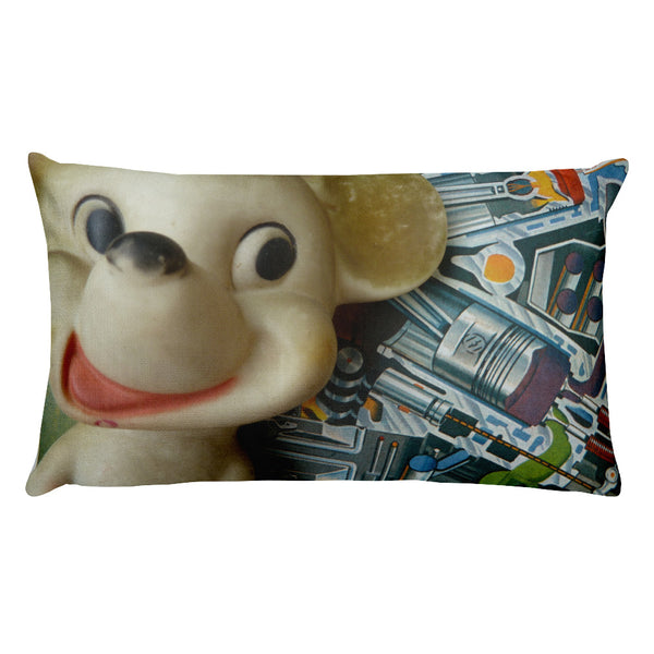 Vintage Toy Mouse and Bunny Double Sided Throw Pillow!