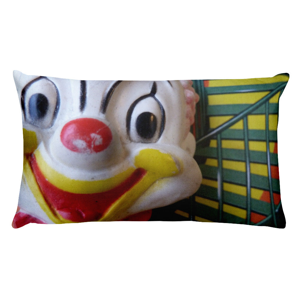 Vintage Clown Double Sided Throw Pillow #2 - Color Clowns