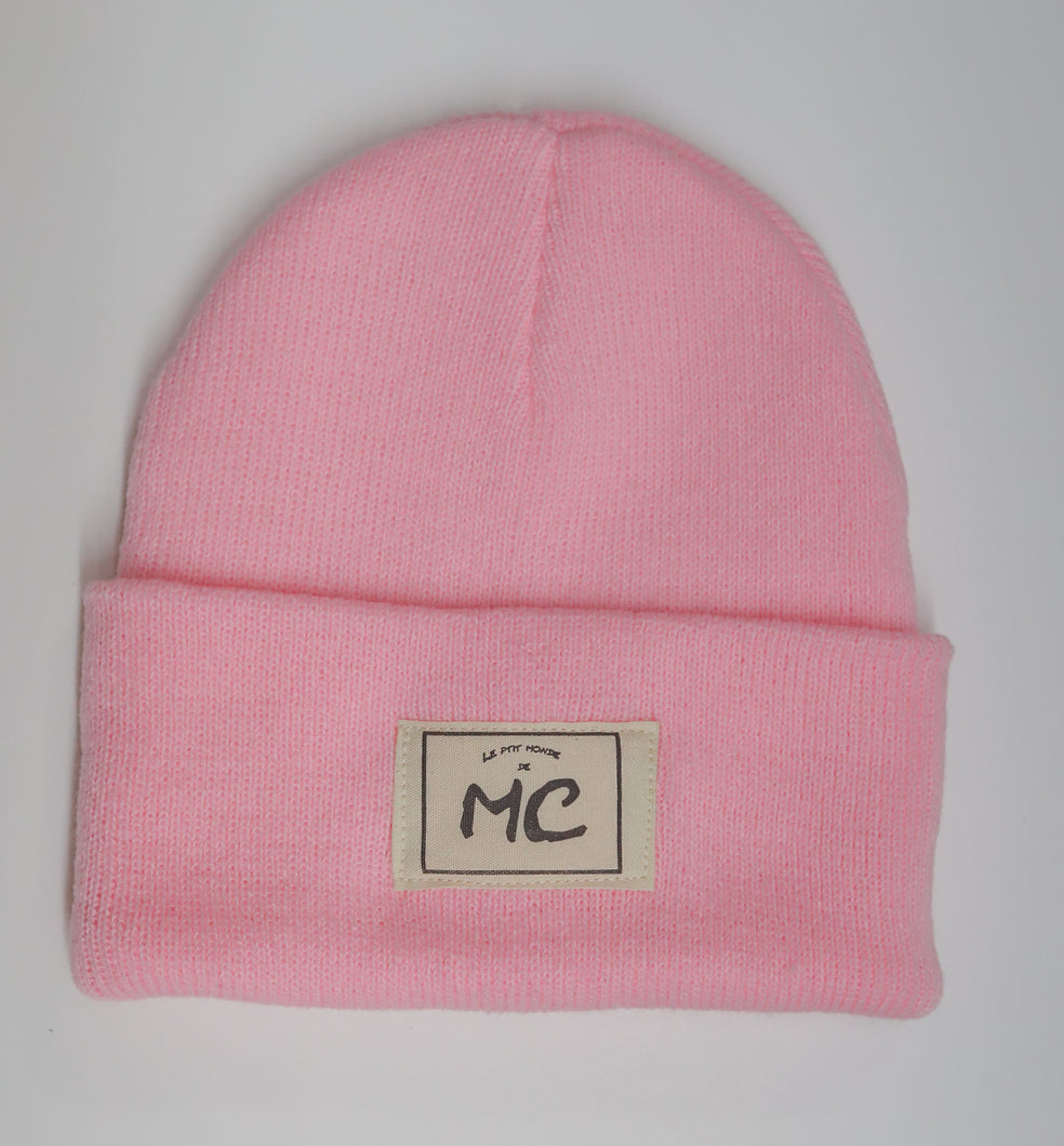 Tuque à rebord en lainage rose