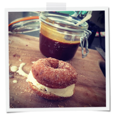 Apple Cider Donut Ice Cream Sandwich with Bourboned Salted Caramel Sauce