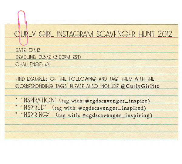 Curly Girl Instagram Scavenger Hunt 2012!!