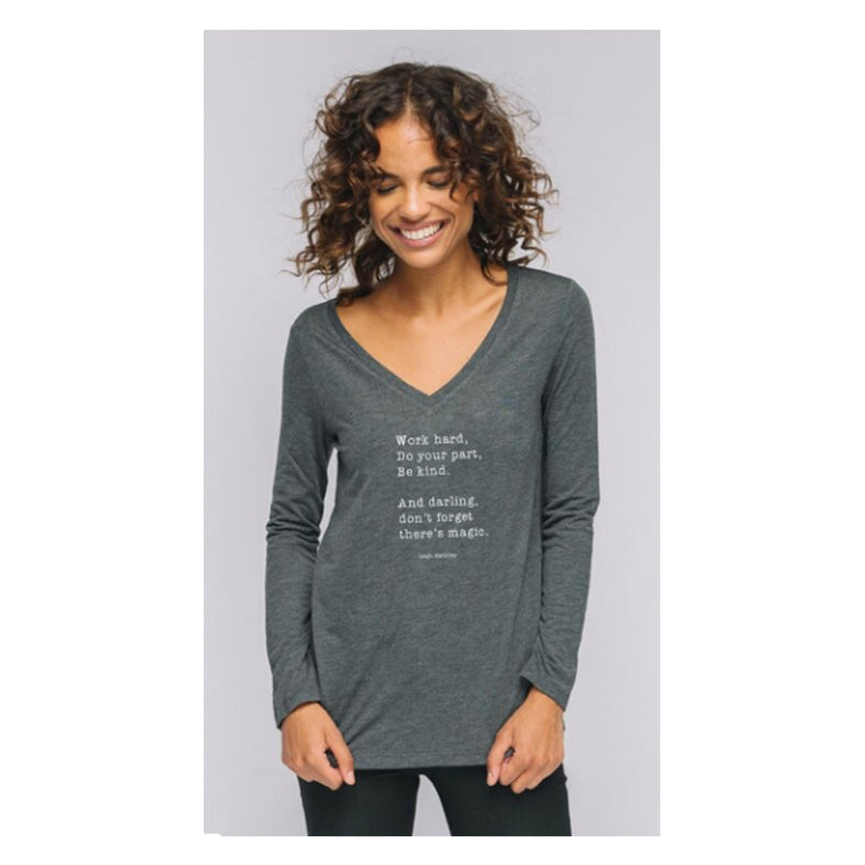 """Don't Forget There's Magic"" V-Neck Long Sleeve Tee - Grey"