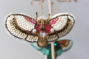 Rose Beaded Moth Ornament