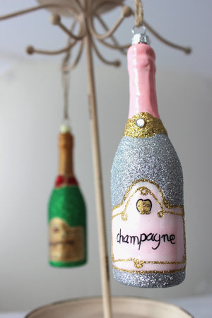 Bottle of Bubbly Ornament - Silver