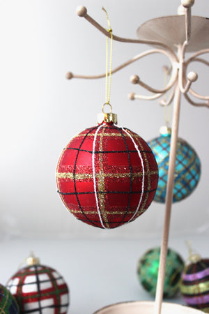 Red and Gold Tartan Plaid Ornament