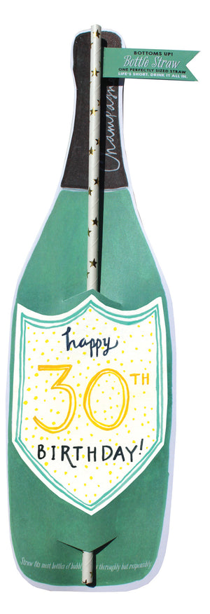 30th Birthday Bottle Straw Card