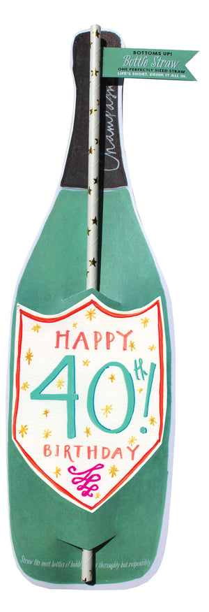 40Th Birthday Wine Bottle Straw Card