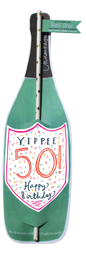 50Th Birthday Wine Bottle Straw Card