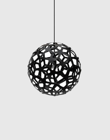 "Coral Painted 2 Sides Ceiling Pendant | By David Trubridge Ceiling Pendant David Trubridge 400mm (16"") Black"