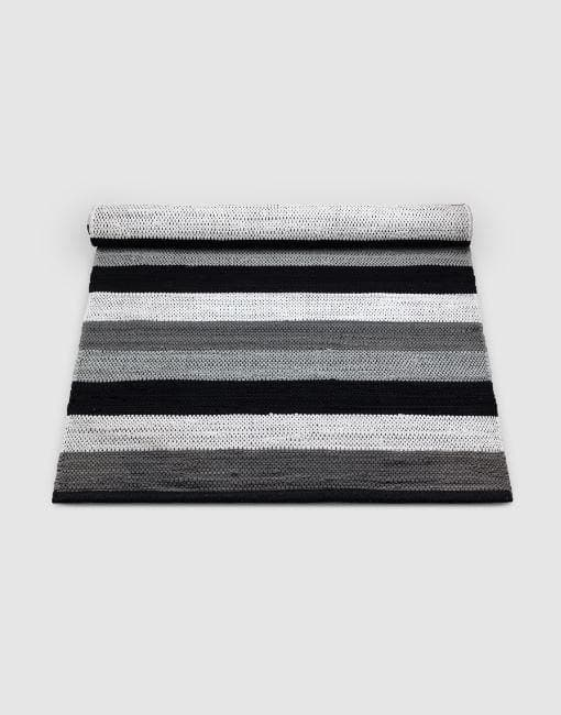 Cotton Black-Grey-White Stripe Rug | By Rug Solid Rugs Rug Solid
