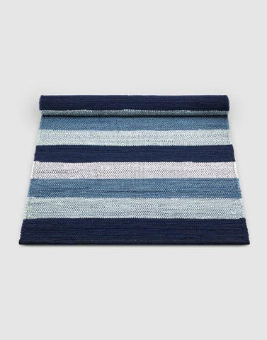 Cotton Blue-White Stripe Rug | By Rug Solid Rugs Rug Solid