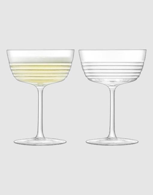Groove Champagne/Cocktail Glass 265ml Clear x 2 | By LSA Glassware LSA