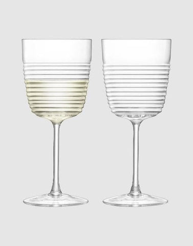 Groove Wine Glass 270ml Clear x 2 | By LSA Glassware LSA