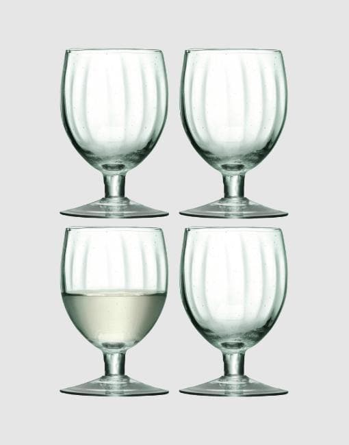 Mia Wine Glass 350ml recycled part optic x 4 | By LSA Glassware LSA