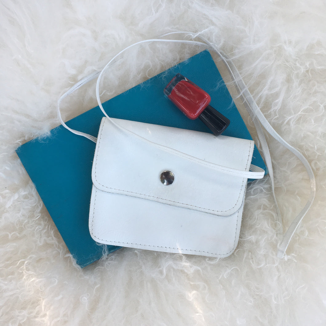 Small White Leather Purse