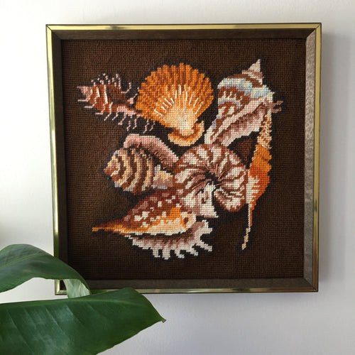 Framed Sea Shell Embroidery