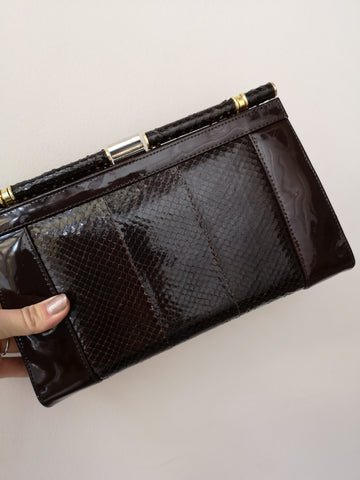 Snakeskin Leather Purse- Brown