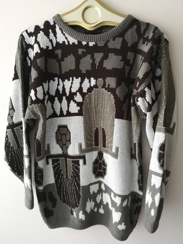 Metallic Deco-Style 80s Sweater