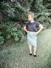 Blue-gray Leather Skirt