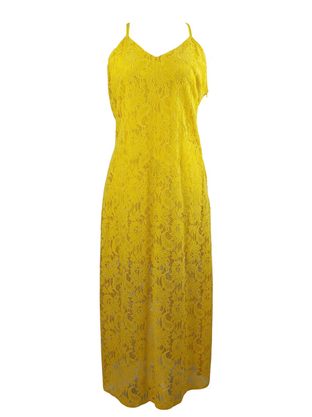 Available by Angela Fashion Yellow Lacey Spaghetti Strap Dress