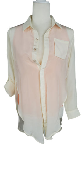 Line & Dot Silk Hi Low Cream Peach Blouse