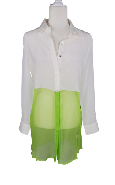 Line & Dot White & Neon Silk Button Down