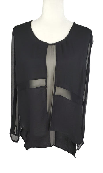 Line & Dot Sheer Black Blouse