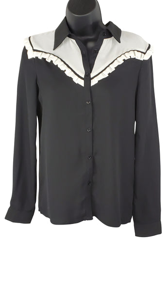 After Market Black and White Western Blouse