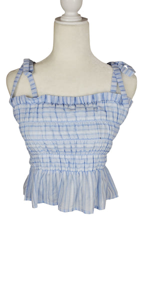 After Market Blue Striped Tie Strap Tank Top
