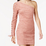 Endless Rose Pink Faux Suede One-Shoulder Dress