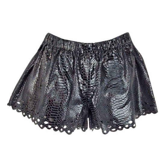 English Rose Black Snake Print Mini Shorts
