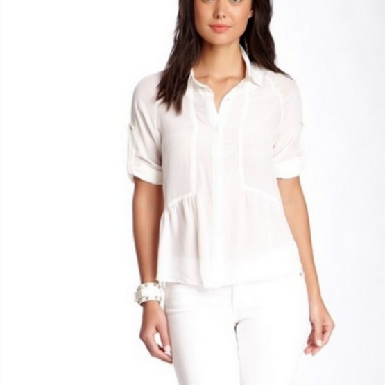 Line & Dot White Silk Keyhole Back Button Down