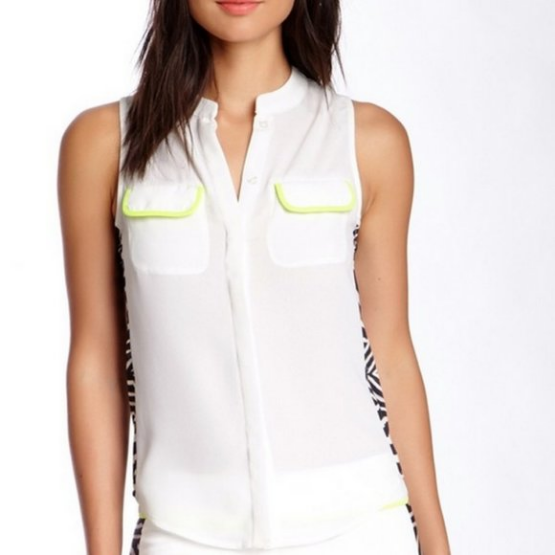 Line & Dot Cream Sleeveless Top Zebra Trim
